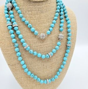 Turquoise Convertible Necklace with Tassel Charm